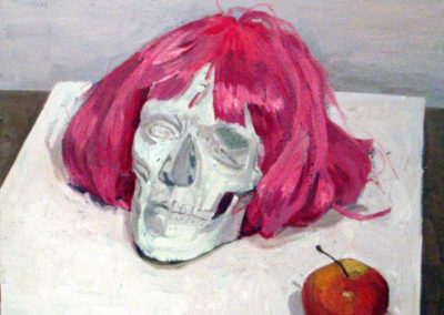 Red wig, red apple